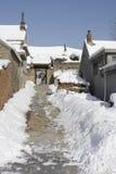 το χιόνι εχιόνισε οδός θύε& Στοκ φωτογραφία με δικαίωμα ελεύθερης χρήσης