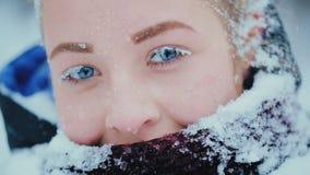 Το χιόνι στο Eyelashes απόθεμα βίντεο