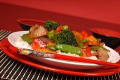 το χοιρινό κρέας πιάτων τηγ&alp Στοκ Εικόνα