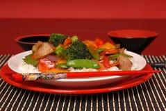 το χοιρινό κρέας πιάτων τηγ&alp Στοκ Εικόνες