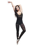 το χορεύοντας κορίτσι απομόνωσε το λευκό στοκ φωτογραφία