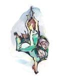 το χορεύοντας κορίτσι απομόνωσε το λευκό Απεικόνιση αποθεμάτων