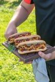 Το χοτ-ντογκ με το μπέϊκον τύλιξε το λουκάνικο, το κέτσαπ, την κίτρινη μουστάρδα, το τηγανισμένα κρεμμύδι και τα τουρσιά Στοκ φωτογραφία με δικαίωμα ελεύθερης χρήσης