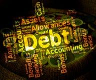 Το χρέος Word σημαίνει την ευθύνη και τα χρέη λέξεων διανυσματική απεικόνιση