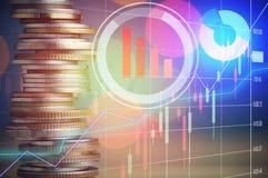 Το χρηματιστήριο και η σειρά των νομισμάτων, έννοια αυξάνονται μέσα, χρηματοδοτούν και κύριες τραπεζικές εργασίες Στοκ φωτογραφία με δικαίωμα ελεύθερης χρήσης