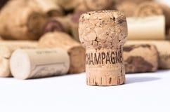 Το χρησιμοποιημένες παλαιές εκλεκτής ποιότητας κρασί και η σαμπάνια βουλώνουν τα υπόβαθρα Στοκ Εικόνες