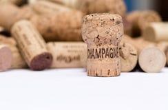 Το χρησιμοποιημένες παλαιές εκλεκτής ποιότητας κρασί και η σαμπάνια βουλώνουν τα υπόβαθρα Στοκ Εικόνα