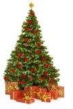 Το χριστουγεννιάτικο δέντρο και παρουσιάζει τα δώρα, παιχνίδια χριστουγεννιάτικων δέντρων στο λευκό Στοκ εικόνα με δικαίωμα ελεύθερης χρήσης