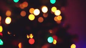 Το χριστουγεννιάτικο δέντρο που θολώνεται να αναβοσβήσει ανάβει bokeh Έννοια χειμερινών διακοπών 1920x1080 φιλμ μικρού μήκους