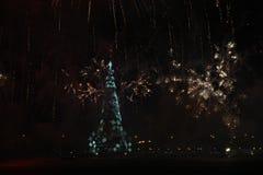 Το χριστουγεννιάτικο δέντρο Lagoa Rodrigo de Freitas εγκαινιάζεται με τα πυροτεχνήματα Στοκ Εικόνα
