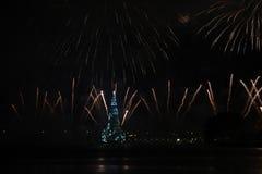 Το χριστουγεννιάτικο δέντρο Lagoa Rodrigo de Freitas εγκαινιάζεται με τα πυροτεχνήματα Στοκ Φωτογραφία