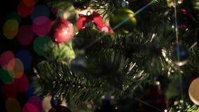 Το χριστουγεννιάτικο δέντρο περιστρέφεται το ζωηρόχρωμο φίλτρο αστεριών ευρέως απόθεμα βίντεο