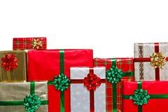 Το χριστουγεννιάτικο δώρο χαμηλώνει το πλαίσιο Στοκ Εικόνα