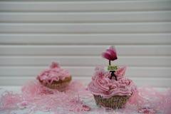 Το χρονικό ρόδινο cupcake άνοιξη διακόσμησε με ένα μικροσκοπικό ειδώλιο προσώπων κρατώντας ένα σημάδι με την άνοιξη λέξεων γειά σ Στοκ Εικόνα