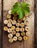 Το χρονολογημένο μπουκάλι κρασιού βουλώνει στην ξύλινη ανασκόπηση Στοκ Φωτογραφία