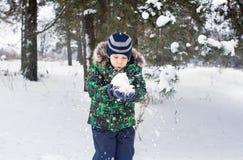 Το 6χρονο αγόρι είναι στο ξύλο Στοκ φωτογραφίες με δικαίωμα ελεύθερης χρήσης