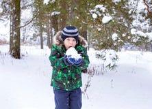 Το 6χρονο αγόρι είναι στο ξύλο Στοκ εικόνες με δικαίωμα ελεύθερης χρήσης