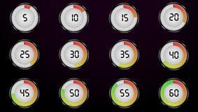 Το χρονόμετρο για 60 δευτερόλεπτα εικονίδια που τίθενται Στοκ Εικόνες