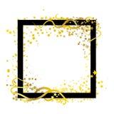 Το χρυσό θέμα αστεριών πλαισίων διασποράς με τη σπειροειδή καμπύλη κτυπά τις γραμμές αβ ελεύθερη απεικόνιση δικαιώματος