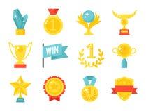 Το χρυσό καλύτερο αθλητικής επιτυχίας βραβείων βραβείων διανυσματικών τροπαίων πρωτοπόρων φλυτζανιών επίπεδων νικητών εικονιδίων  διανυσματική απεικόνιση