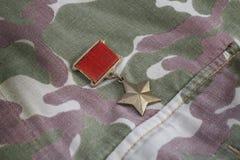 Το χρυσό μετάλλιο αστεριών είναι ειδικά διακριτικά που προσδιορίζει τους παραλήπτες του ήρωα τίτλου στη Σοβιετική Ένωση στο σοβιε Στοκ Φωτογραφίες