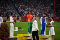 το χρυσό μετάλλιο mbango francois κερδίζει στοκ εικόνα με δικαίωμα ελεύθερης χρήσης