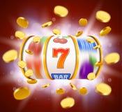 Το χρυσό μηχάνημα τυχερών παιχνιδιών με κέρματα με τα πετώντας χρυσά νομίσματα κερδίζει το τζακ ποτ Μεγάλος κερδίστε την έννοια Στοκ φωτογραφία με δικαίωμα ελεύθερης χρήσης