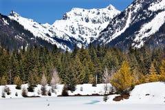 το χρυσό πέρασμα λιμνών snoqualme χιονίζει άνοιξη Ουάσιγκτον Στοκ εικόνες με δικαίωμα ελεύθερης χρήσης