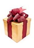 το χρυσό παρόν δώρων κιβωτίω& Στοκ φωτογραφία με δικαίωμα ελεύθερης χρήσης