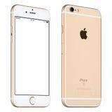 Το χρυσό πρότυπο iPhone της Apple 6S περιστράφηκε ελαφρώς την μπροστινή άποψη με Στοκ Εικόνα