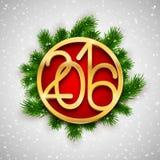 Το χρυσό σχέδιο Χριστουγέννων 2016, νέα ευχετήρια κάρτα έτους, διανυσματική απεικόνιση με το έλατο διακλαδίζεται Στοκ φωτογραφία με δικαίωμα ελεύθερης χρήσης