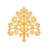 Το χρυσό σύμβολο δέντρων Bodhi με το ταϊλανδικό ύφος απομονώνει στο υπόβαθρο Στοκ Φωτογραφία