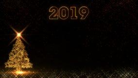 Το χρυσό φως χριστουγεννιάτικων δέντρων καλής χρονιάς το 2019 λάμπει υπόβαθρο πυροτεχνημάτων μορίων διανυσματική απεικόνιση