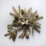 Το χρυσό φύλλο σφενδάμου βρίσκεται στο κέντρο του χρυσού έλατου branc Στοκ Φωτογραφία