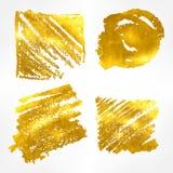 Το χρυσό hand-drawn σύνολο εμβλημάτων επίσης corel σύρετε το διάνυσμα απεικόνισης Στοκ φωτογραφίες με δικαίωμα ελεύθερης χρήσης