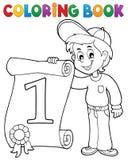 Το χρωματίζοντας αγόρι βιβλίων κρατά το πιστοποιητικό ελεύθερη απεικόνιση δικαιώματος