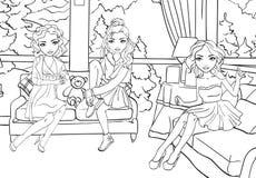 Το χρωματίζοντας βιβλίο των κοριτσιών κάθεται στο καθιστικό ελεύθερη απεικόνιση δικαιώματος