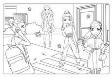 Το χρωματίζοντας βιβλίο των κοριτσιών πηγαίνει στην πόλη στο φθινόπωρο απεικόνιση αποθεμάτων