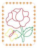 Το χρωματίζοντας βιβλίο όμορφου αυξήθηκε με την πεταλούδα ελεύθερη απεικόνιση δικαιώματος