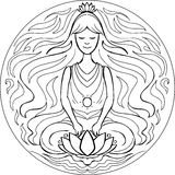 Το χρωματίζοντας Lotus θέτει Mandala Στοκ Εικόνες