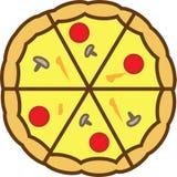 Το χρωματισμένο πίτσα εικονίδιο τεμαχίζεται εντελώς σε 6 κομμάτια με τις ντομάτες και το τυρί διανυσματική απεικόνιση