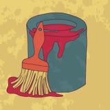 Το χρώμα για την επισκευή με μια βούρτσα Κόκκινο διάνυσμα χρωμάτων Στοκ Εικόνες