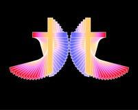 το χρώμα διασχίζει πολυ ακτινοβόλα δύο Στοκ εικόνες με δικαίωμα ελεύθερης χρήσης