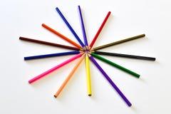 Το χρώμα μολυβιών όπως τη μορφή αστεριών Στοκ Φωτογραφίες