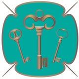 Το χρώμιο μετάλλων δεσμών των κλειδιών διακοσμητικό ξεκλειδώνει τα στοιχεία χάλυβα διανυσματική απεικόνιση