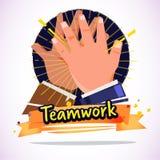 Το χτύπημα επιχειρηματιών δίνει μεταξύ τους έννοια διαπραγμάτευσης ή ομαδικής εργασίας απεικόνιση αποθεμάτων