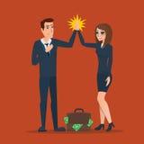Το χτύπημα επιχειρηματιών και γυναικών δίνει το ένα το άλλο στη συνεργασία διανυσματική απεικόνιση