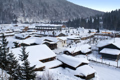 Το χωριό του χιονιού Στοκ Φωτογραφία