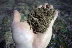 Το χώμα επανδρώνει μέσα το χέρι με το μουτζουρωμένο υπόβαθρο στοκ φωτογραφία με δικαίωμα ελεύθερης χρήσης