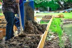 Το χώμα flowerpot ορθογωνίων προετοιμάζεται για το homegrown λαχανικό φυτεύοντας στον κήπο στοκ εικόνες